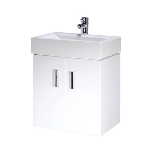 Cubi 450mm White Gloss Wall Hung Cabinet & Basin